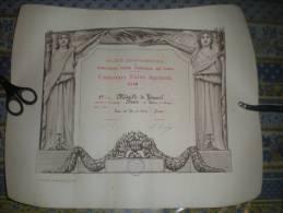 GRAND DIPLOME 1928 CONCOURS FOIRE AGRICOLE DE CAEN  MEDAILLE DE VERMEIL EAU DE VIE DE CIDRE VIEILLIE HOTOT EN AUGE - Manifesti