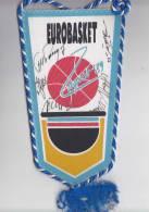 BASKETBALL 1989 EUROBASKET ZAGREB '89. FLAGGE Mit Unterschrift BASKETBALLSPIELERN - Sport