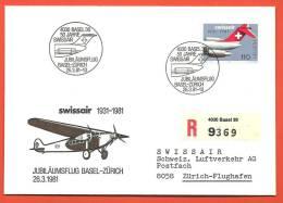 C1042bis Enveloppe Jubilé Swissaire 1931-1981 Avec Timbre Spécial. - Airplanes