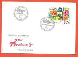 C1042quad Enveloppe Emission Commune Suisse-France Jean Tinguely 25.11.1988 Avec Cachet Basel - FDC
