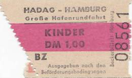 HADAG Hamburg, Große Hafenrundfahrt, Kinder-Fahrschein, Billett, Ticket, St.Pauli-Landungsbrücken , 1964, Abriss Links - Carte D'imbarco Di Navi