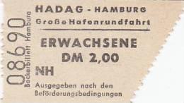 HADAG Hamburg, Große Hafenrundfahrt, Erwachsen-Fahrschein, Billett, Ticket, St.Pauli-Landungsbrücken 1964, Abriss Rechts - Schiffstickets