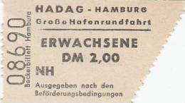 HADAG Hamburg, Große Hafenrundfahrt, Erwachsen-Fahrschein, Billett, Ticket, St.Pauli-Landungsbrücken 1964, Abriss Rechts - Carte D'imbarco Di Navi