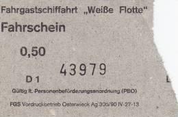 """Fahrgastschifffahrt """"Weiße Flotte"""" Stralsund, Fahrschein, Billett, Ticket, 0,50 DM, 1992 - Schiffstickets"""