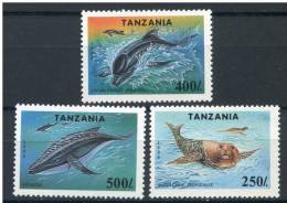 TANZANIE   TANZANIA   1994   Yvert 1658/1660   Michel 1779/1781   Baleine, Dauphin, Phoque   Whale, Dolphin, Seal - Whales