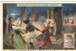 Chromo Liebig Potage Soupe Feux De La St Jean  Bretons Dansant Entre  Les Menhirs Série Vieilles Coutulmes - Liebig