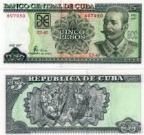 CUBA/KUBA 2007 BANCONOTA 5 PESOS FIOR DI STAMPA - Cuba