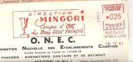 Or, Coupe, Goût, France, Macon, Saone Et Loire - EMA Secap N - Devant D'enveloppe  (K155) - Minerali