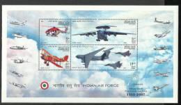 INDIA, 2007, MS  Platinum Jubilee Of Indian Air Force,  IAF,  Set 4 V ,Miniature Sheet,  MNH,(**) - Nuovi