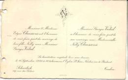 SCHAERBEEK-TOULON-CLAESSENS-VIDAL-NELLY CLAESSENS-GEORGES VIDAL-1923-FIARE-PART-MARIAGE-ETAT PLIEE VOYEZ LE SCAN!!! - Mariage