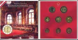 Autriche Austria Coffret Officiel BU 1 Cent à 2 Euro 2005 Dont 2 Euro Traité De Souveraineté KM MS14 - Autriche