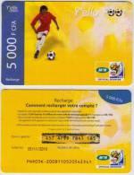 AFRICA CONGO USED PREPAID RECHARGER CARD Y'ELLO FOOT SOCCER 5000 FCFA - Congo