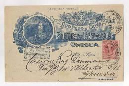 OLIO D'OLIVA PIETRO ISNARDI ONEGLIA IMPERIA CARTOLINA COMMERCIALE PUBBLICITARIA VIAGGIATA - Imperia