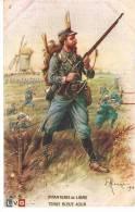 CPA  MILITARIA GUERRE 1914  LEON HINGRE INFANTERIE DE LIGNE TENUE BLEU AZUR  VERSO PUB BOUGIE EYQUEM - War 1914-18