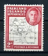 FALKLAND  ISLANDS  DEPENDENCIES     1946     2d  Black  And  Carmine      MH - Falkland Islands