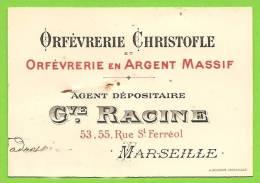 13 - MARSEILLE - Carte Commerciale G. RACINE - Agent Dépositaire De L'Orfèvreie Christofle En Argent Massif - Marseille