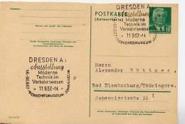 TECHNIK IM VERKEHRSWESEN Dresden 1957 Auf DDR P70 IA Antwort-Postkarte - Verkehr & Transport