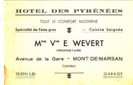 CARTE DE VISITE - MONT DE MARSAN 40 LANDES - HOTEL DES PYRENEES - Cartes De Visite