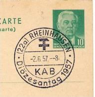 Diözesantag RHEINHAUSEN 1957 Auf DDR P70 IA  Antwort-Postkarte - Christentum