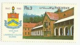 PAKISTAN 1985 MNH 125TH ANNIVERSARY OF LAWRENCE COLLEGE, MURREE, EDUCATION, KNOWLEDGE, LIGHT YELLOW GUM AS PER SCAN