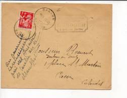 """1941 - Cachet à Date Horoplan De 28 M/m Type A 5  """" Ballon """" Dép 72 Sur Iris 1 Frs - 1921-1960: Modern Tijdperk"""