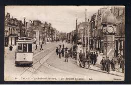 RB 911 - 1925 LL L.L. Postcard - Tram Close-Up - Le Boulevard Jacquard - Calais France - Calais