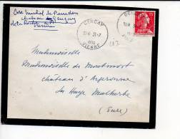 1956 - Cachet à Date Horoplan De 28 M/m Type A 5 Gencay 86 Sur Muller 15 Frs - 1921-1960: Periodo Moderno