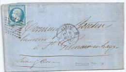N° 14 BLEU NAPOLEON SUR LETTRE  / PARIS H POUR ST GERMAIN EN LAYE / 8 AOUT 1858 - Marcophilie (Lettres)