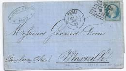 N° 14 BLEU NAPOLEON SUR LETTRE  / PARIS  D   POUR MARSEILLE / 6 AOUT 1862 TYPE 2 - 1849-1876: Période Classique