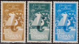España 1955 Edifil 1180/2 Sellos ** I Centenario Telegrafo Aisladores Y Antena Michel 1065/7 Yvert 873/5 Spain Stamps - 1931-Heute: 2. Rep. - ... Juan Carlos I
