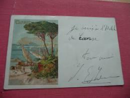 CPA  Litho Cannes Illustrée Par Hanouville. Avant 1900. TP Type Sage Au Dos . Petite Déchirure En Haut à Droite - Cannes