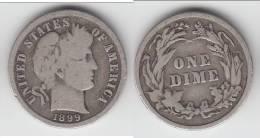 **** USA  - ETATS-UNIS  - 1 DIME - ONE DIME 1899 BARBER - SILVER **** EN ACHAT IMMEDIAT !!! - Émissions Fédérales