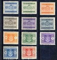 Luogotenenza 1945 Tasse Sassone N. 86 - 96, Filigrana Ruota MNH LUX Alti Valori Firmati BIONDI Cat. € 225 - Segnatasse