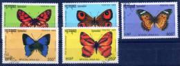 Kampuchea 1993 Schmetterlinge  Mi.-Nr. 1354 - 58 Kpl.  O/used - Kampuchea