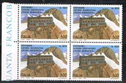 """Italia 1993 Quartina £. 500 Capanna Osservatorio """"Regina Margherita"""" Nuova** Integra - 6. 1946-.. Republic"""