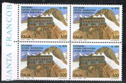 "Italia 1993 Quartina £. 500 Capanna Osservatorio ""Regina Margherita"" Nuova** Integra - Blocchi & Foglietti"