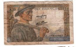 Billet - 10 Francs Mineur - 26.11.1942 P - M.33 N° 45038 - 1871-1952 Gedurende De XXste In Omloop