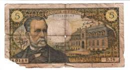 Billet - 5 Francs Pasteur - 4.4.1968 F - D.78 N° 60188 - 5 F 1966-1970 ''Pasteur''
