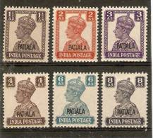 INDIA - PATIALA 1941 - 1946 1½a, 2a, 3a, 4a, 6a, 8a SG 108/110, 112/114 MINT NEVER HINGED (UNMOUNTED MINT)Cat £15 - Patiala