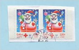 Paire Du N° 3436 Croix Rouge Pale Sur Timbre De Droite Avec Croix Rouge Rouge Sur Timbre De Gauche - Variétés Et Curiosités