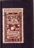 TRIESTE AMG FTT CINQUANTENARIO BIENNALE ARTE DI VENEZIA LIRE 20 - USATO - 7. Triest