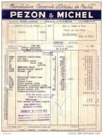 INDRE ET LOIR - AMBOISE - MANUFACTURE GENERALE D´ARTICLES DE PÊCHE - PEZON & MICHEL - FACTURE + MANDAT - 1958 - Sports & Tourisme