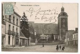 CHATEAU Du LOIR - L'Eglise - Fillettes Jouant Dans La Rue - Ecrite & Timbrée En 1905 - Chateau Du Loir
