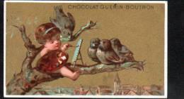 CHROMO - CHOCOLAT GUERIN-BOUTRON - FILLETTE PEIGNANT ET OISEAUX - Guérin-Boutron