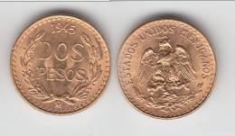SPLENDIDE ****  MEXIQUE - MEXICO - 2 PESOS - DOS PESOS 1945 - GOLD - OR **** EN ACHAT IMMEDIAT !!! - Mexico
