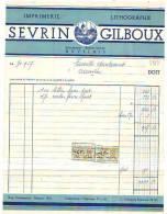Auvelais - 1957 - Sevrin & Gilboux (successeur De Robert Sevrin ) Imprimerie-lithographie - Printing & Stationeries