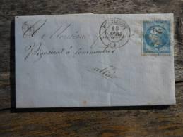 A5.lettre De Montlucon, Boite Rurale Identifiable,varieté.Verso - 1849-1876: Periodo Classico