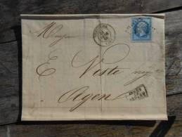 A13;  Lettre De Toulouse Les Chatrons;varieté.Verso ,a Voir!!. - 1862 Napoleone III