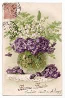 Bonne Année - Illustration Vase Violettes Et Muguet Porte-bonheur - Ecrite & Timbrée 1905 - Nouvel An