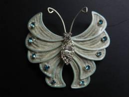 (1) Broche Papillon Avec Brillants 5 X 5,5 Cm - Broches
